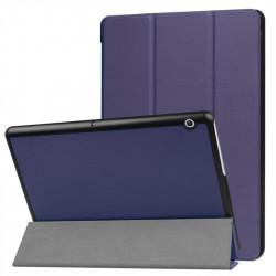 Кожен калъф със сгъващ се капак за Huawei MediaPad T3 10 инча - тъмно син