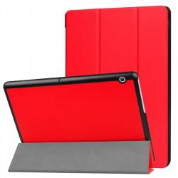 Кожен калъф със сгъващ се капак за Huawei MediaPad T3 10 инча - червен