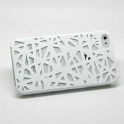 """Пластмасов калъф тип """"mesh"""" на триъгълници за iPhone 5 - бял"""