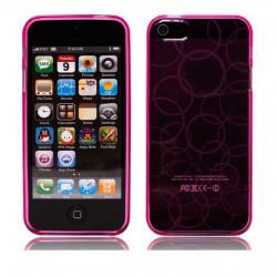 Силиконов калъф на кръгове за iPhone 5 - розов