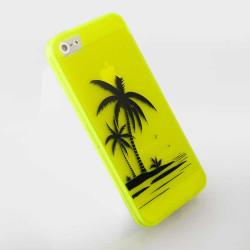 Силиконов калъф на палми за iPhone 5 - жълт