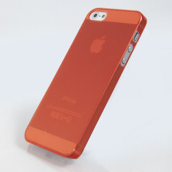 Полупрозрачен пластмасов калъф за iPhone 5 - оранжев