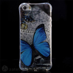 Силиконов калъф за iPhone SE/5/5s - синя пеперуда