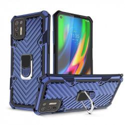 Хибриден гръб на черти със стойка за Motorola Moto G9 Plus -  син
