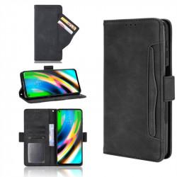 Кожен калъф тип портмоне с магнитно закопчаване за Motorola Moto G9 Plus - черен