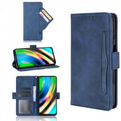 Кожен калъф тип портмоне с магнитно закопчаване за Motorola Moto G9 Plus - тъмно син