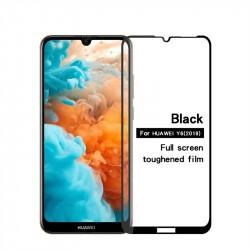 Извит 3D удароустойчив стъклен протектор покриващ целия екран марка MOFI за Huawei Y6 2019 - цвят черен